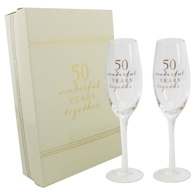 AMORE BY JULIANA® Champagne Flute Set - 50th Anniversary