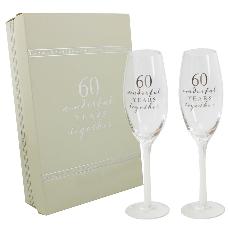 AMORE BY JULIANA® Champagne Flute Set - 60th Anniversary