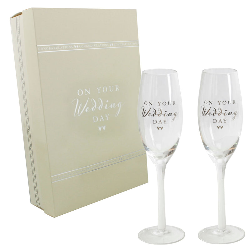 AMORE BY JULIANA® Champagne Flute Set - Wedding Day