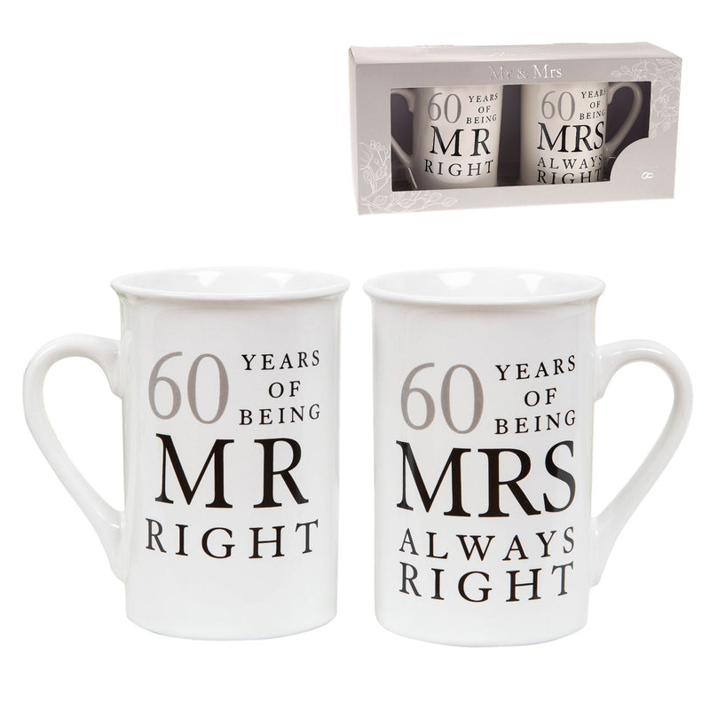 AMORE BY JULIANA® Mr & Mrs Mug Set - 60 Years