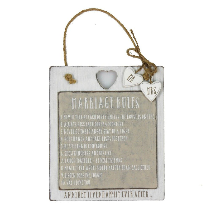 Love Story Marriage Rules Plaque