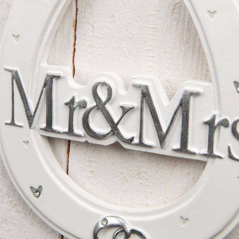 AMORE BY JULIANA® White Resin Horse Shoe - Mr & Mrs