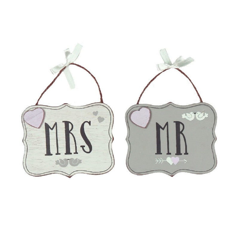 Love Story Set of 2 Mr & Mrs Plaques