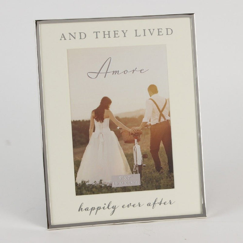 "5"" x 7""- AMORE BY JULIANA® Silver Frame - Happily Ever After"