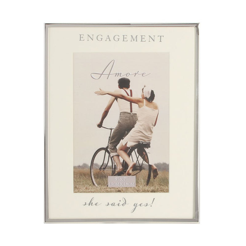 "5"" x 7"" - AMORE BY JULIANA® Silver Frame - Engagement"