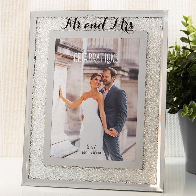 "5"" x 7"" - Celebrations Crystal Border Frame - Mr & Mrs"