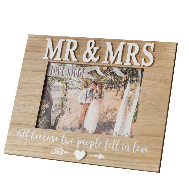 "5"" x 7"" - Love Story Photo Frame - Mr & Mrs"