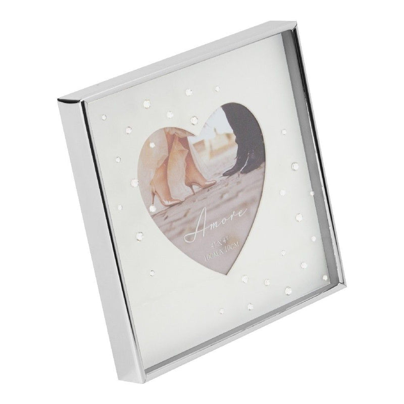"4"" x 4"" - AMORE BY JULIANA® Silver Heart Frame with Crystals"