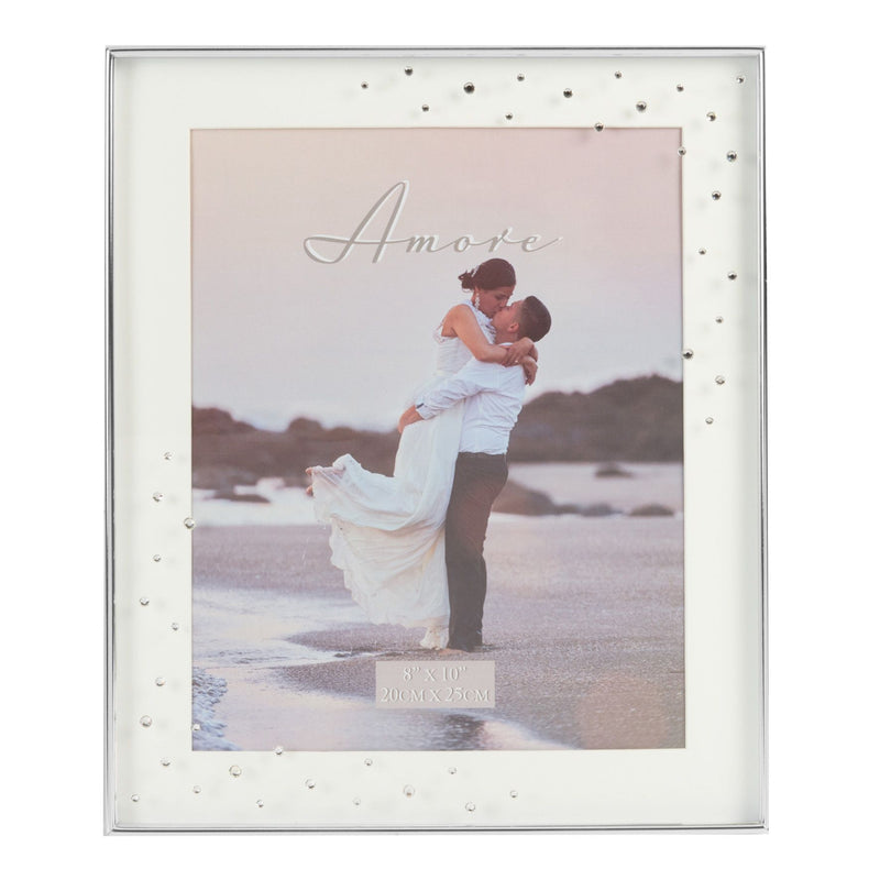 "8""x 10""- AMORE BY JULIANA® Silver Plated Frame with Crystals"