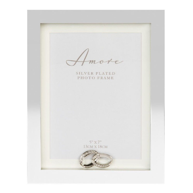 "5"" x 7"" - AMORE BY JULIANA® Silver Frame with Crystal Rings"