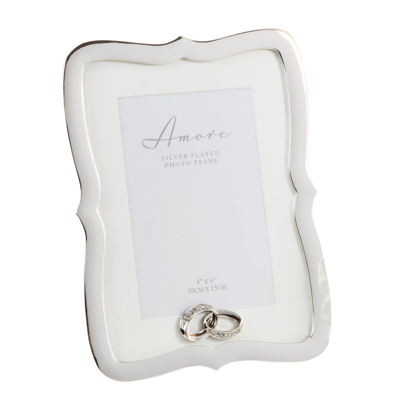 "4"" x 6"" - AMORE BY JULIANA® Silver Frame with Crystal Rings"