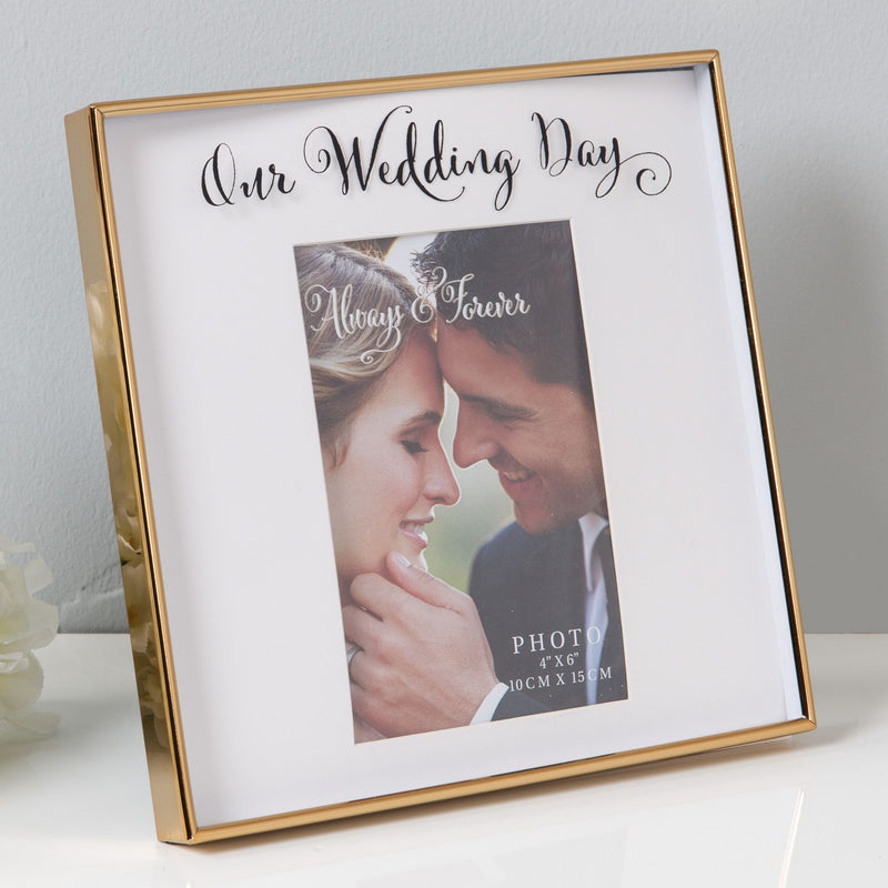 "4"" x 6"" - Always & Forever Gold Finish Frame - Wedding Day"
