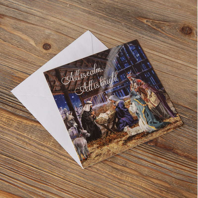 Nativity Scene Mini Advent Calendar Christmas Card