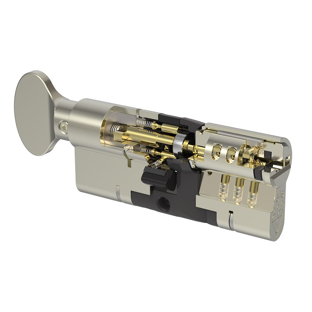 Nickle Thumbturn Yale Anti Snap Euro Cylinder Lock 95mm, available at Anglian Home Improvements