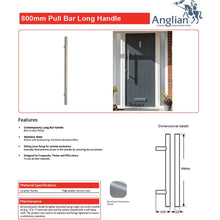 Load image into Gallery viewer, Chrome 800mm Door Pull Handle features and maintenance