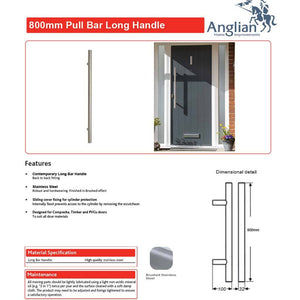 Chrome 800mm Door Pull Handle features and maintenance