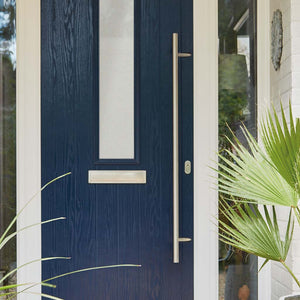 Chrome 1200mm Door Pull Handle on blue composite door
