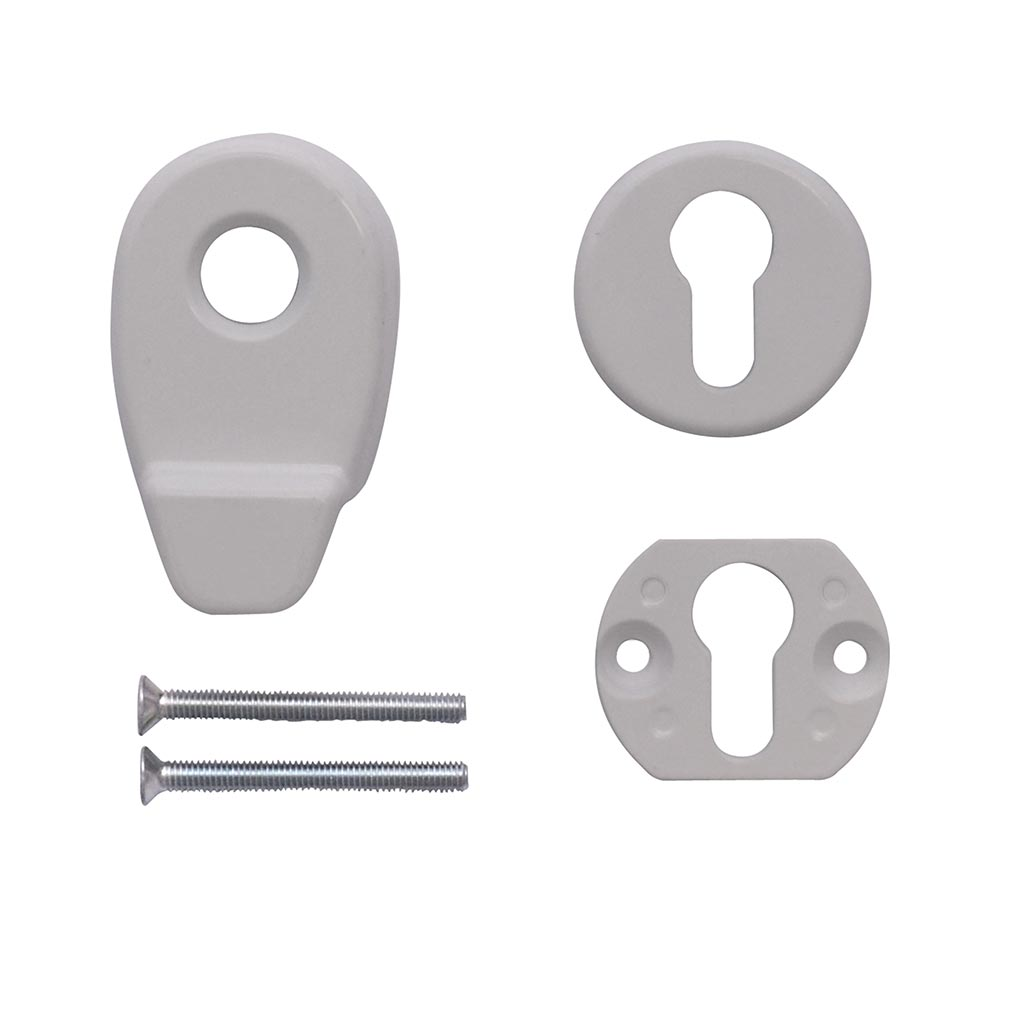 White Door Pull Escutcheon set from Anglian Home Improvements