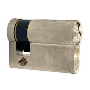 Nickel Euro Half Cylinder Lock 45mm, available at Anglian Home Improvements