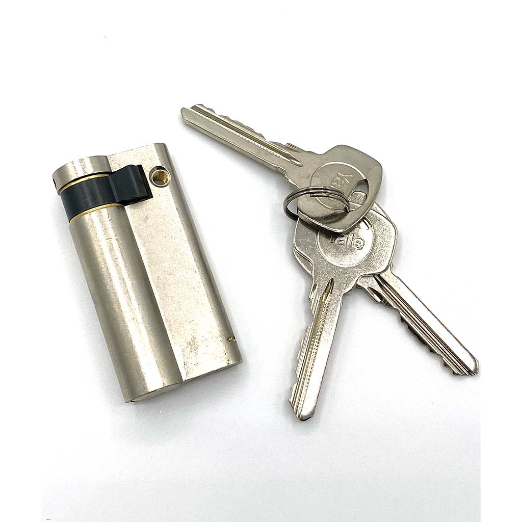 Nickel Euro Half Cylinder Locks 50mm, available at Anglian Home Improvements