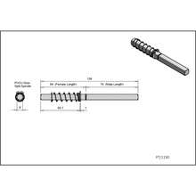 Load image into Gallery viewer, Replacement 138mm split spindle for uPVC Door Handle Specification