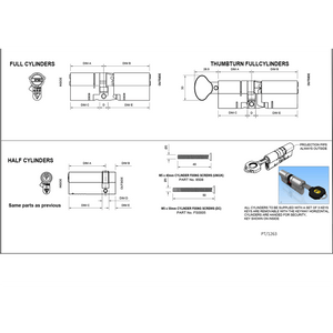 Yale Anti-snap Euro Cylinder Lock size specification