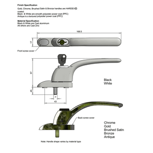 Flush Casement Window Locking Handle diagram, buy now at Anglian Home Improvements