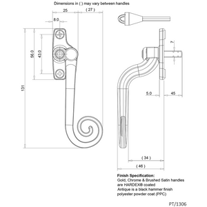 Left Handed Monkey Tail Window Handle size diagram