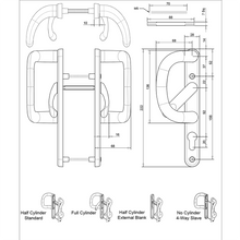 Load image into Gallery viewer, Patio Door Handles with external pull size diagram