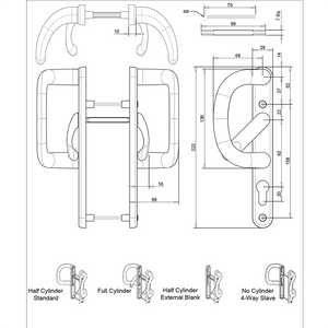 Patio Door Handles - external blank size diagram