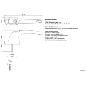 Tilt Safe Window Handle size diagram