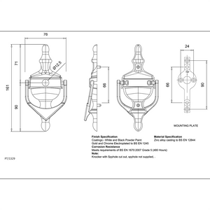 Urn Door Knocker size specification