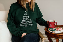 Load image into Gallery viewer, Christmas Tree Gather Sweatshirt - Deep Forest Green Crew Neck - Unisex
