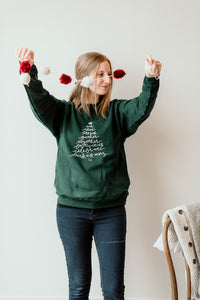 Christmas Tree Gather Sweatshirt - Deep Forest Green Crew Neck - Unisex