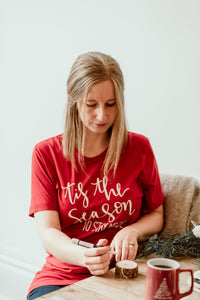 Tis the Season to Stay Inside - Red Unisex Holiday Tee
