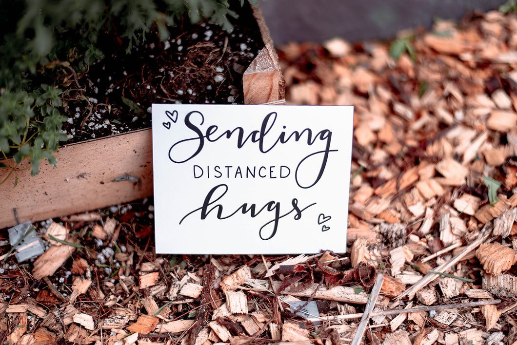 Sending Distanced Hugs Greeting Card - Hand Illustrated Design - Eco Friendly Greeting Cards
