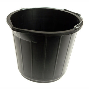 3 Gallon / 15 Litre Black Bucket With Lip