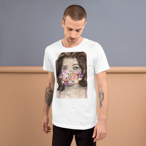 Flower Mask Short-Sleeve Unisex T-Shirt