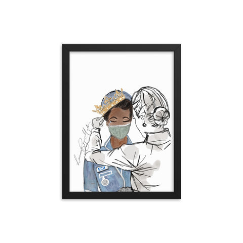 You Go To Work For Us, So We Will Stay Home For You Framed Print