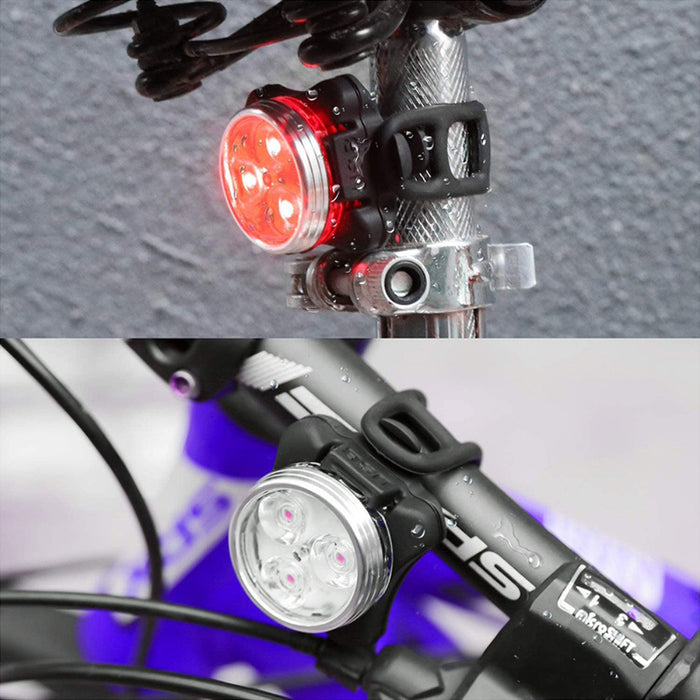 Headlight LED Silicone New Riding Usb Charging Accessories Cob Warning Taillight Set