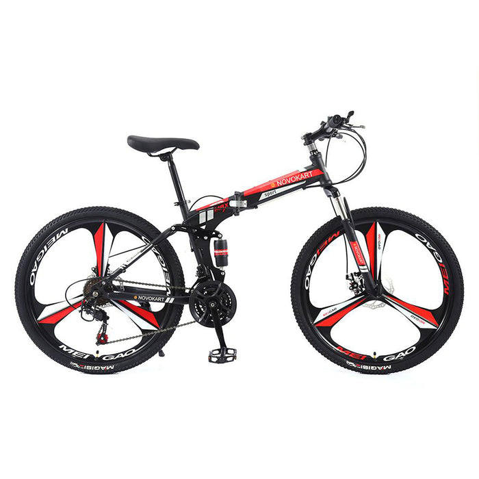 Novokart 'Wayfarer' Foldable Mountain Bike 3 Cutter Wheel, Black&Red