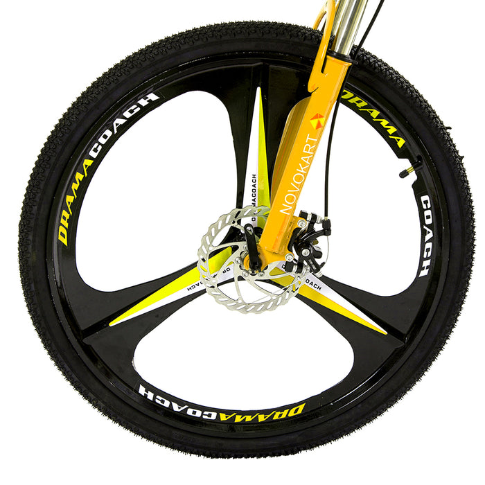 Novokart 'Wayfarer' Foldable Mountain Bike 3 Cutter Wheel, Yellow