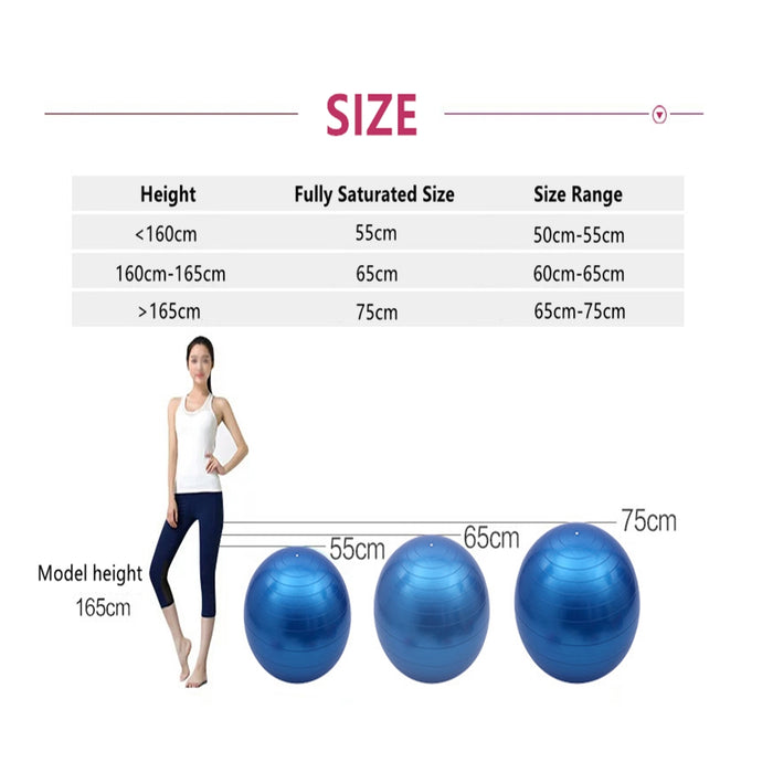 Exercise Ball Yoga Ball 55cm 65cm 75cm Anti-Burst Core with Pump