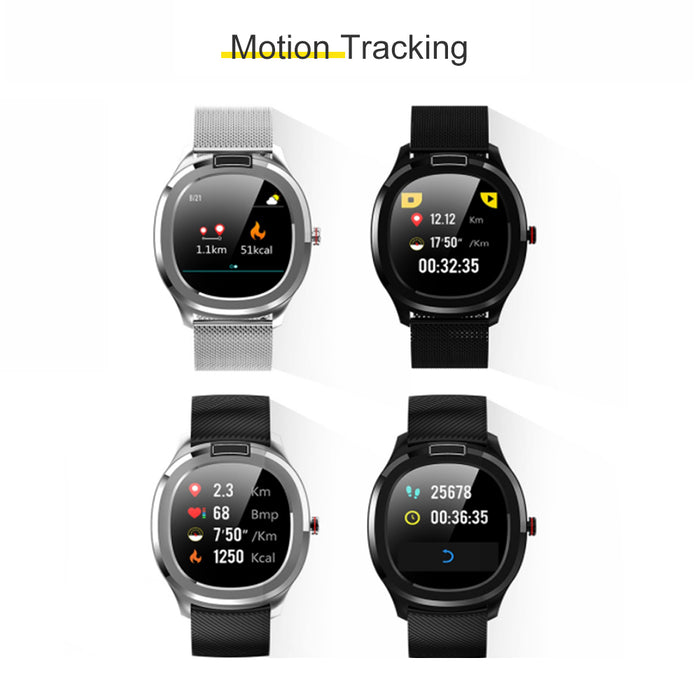 Smart Watch Fitness Trackers Touch Screen Heart Rate Monitor Sleep Monitor Mesh belt 1.3in Black