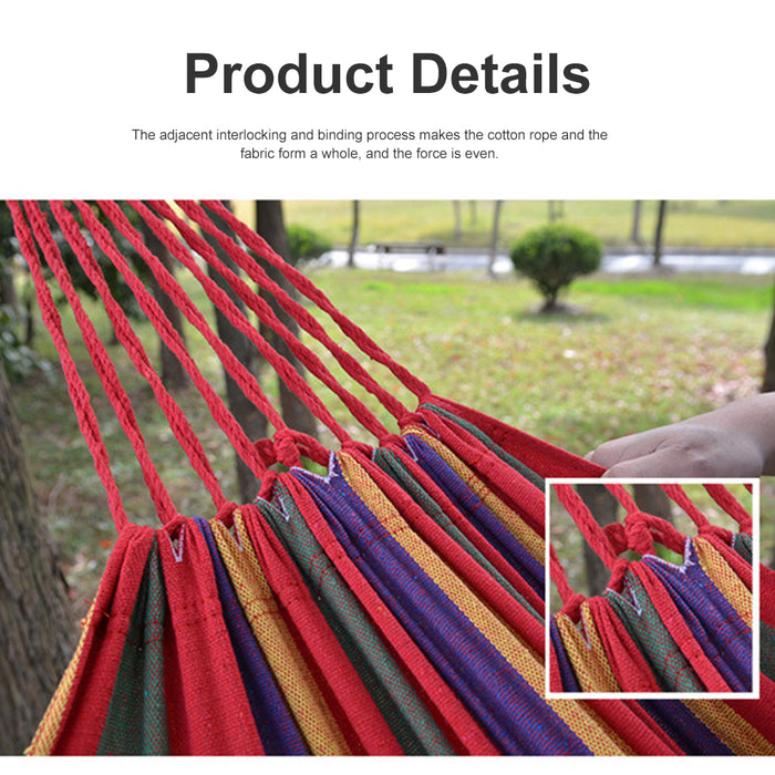 Double Hammock Portable Travel Camping Hanging Hammock Canvas Blue