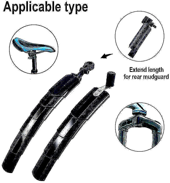 Universal Bicycle Front And Back Bike Fenders Adjustable