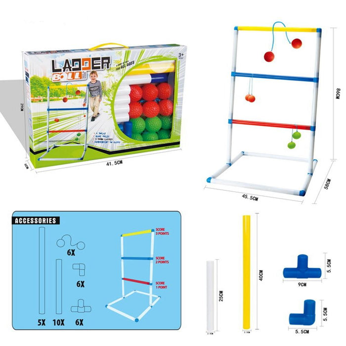 Ladder Toss Game with Ladder Golf Bolo Balls