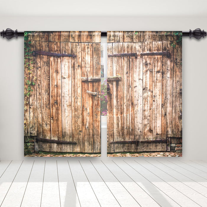 Wooden Door Blackout Thermal Rod Pocket Curtain Panels (Set of 2)