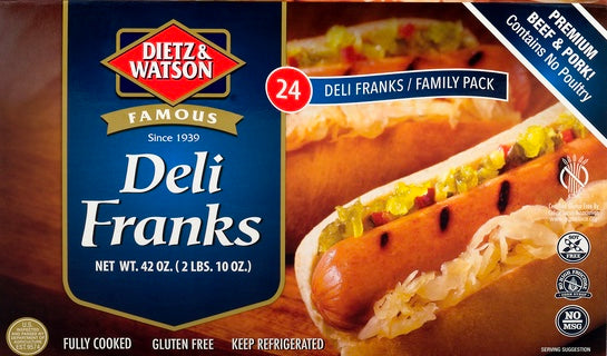Dietz & Watson Deli Franks (Hot Dogs) 24 Family Pack