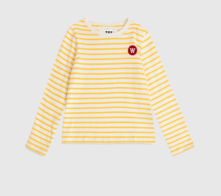 Kim Kids Long Sleeve - Off-white/yellow stripe - Wood Wood
